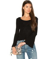 Callahan - Waffled Bell Sleeve Jumper In Black - Lyst