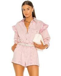Something Navy Magnolia Shirt Jacket - Pink