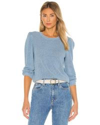 Autumn Cashmere 3/4 Puff Sleeve Shaker Crew Sweater - Blue