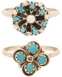 Natalie B. Jewelry - Cactus Clover & Mini Blossom Ring Set - Lyst