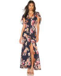 Nicholas Rust Floral Layered Pintuck Dress - Blue