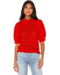 For Love & Lemons Francois Puff Sleeve Pointelle Sweater - Red
