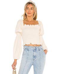 Line & Dot Veronica Smocked Blouse - White
