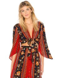 Band Of Gypsies - Bohemian Tie Front Blouse - Lyst