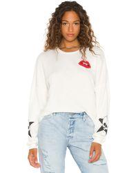 Lauren Moshi Lee Skull Lip Crop Pullover - White