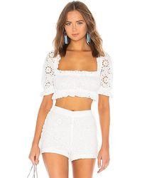 LPA Cropped Peasant Top With Puff Sleeves - White