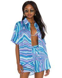 Frankie's Bikinis Fifi viscose top - Azul