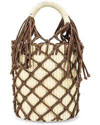 Sensi Studio Сумка-мешок В Цвете Natural Straw & Brown Leather - Коричневый
