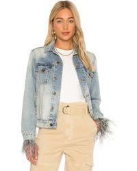 Pam & Gela Feather Cuffed Denim Jacket. Size XS,M. - Blau