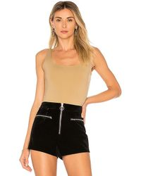 Getting Back to Square One - Square Neck Bodysuit In Tan - Lyst