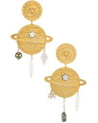 Mercedes Salazar Saturn & Sun Earrings - Metallic