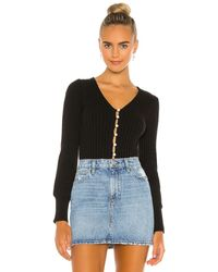 Line & Dot Evelyn sweater cardigan top - Negro