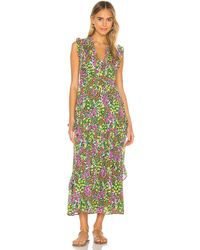 brand: Banjanan Макси Платье Donna В Цвете Cottage Garden Lilac Multi - Green. Размер L (также В M,s,xs). - Зеленый
