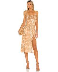 Camila Coelho Платье Миди Bailee В Цвете Brown Zebra - Коричневый