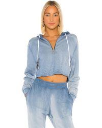 Cotton Citizen Brooklyn Cropped-Kapuzenpullover mit Reißverschluss - Blau