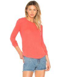 White + Warren - Featherweight Shirttail Sweater In Coral - Lyst
