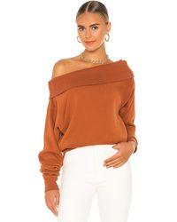 Marissa Webb So Relaxed Off The Shoulder Plush Sweatshirt - Orange