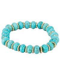 Kendra Scott Браслет Rebecca Stretch В Цвете Gold Variegated Turquoise Magnesite - Синий