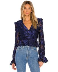 House of Harlow 1960 X Revolve Solana Blouse - Blue