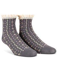 Free People Rosebud Waffle Knit Anklet Socks - Gray