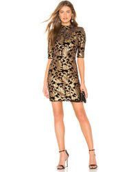Alice + Olivia - Inka Mock Neck Dress In Metallic Gold - Lyst