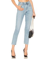 Agolde Riley hohe Straight Crop Jeans. Size 25,26,27,28,29,30,31,32. - Blau