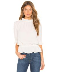 1.STATE - Mockneck Ruffle Blouse In White - Lyst