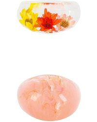 8 Other Reasons Pink Acrylic Flower リングセット - ピンク