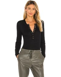 Free People One of The Girls Henley - Schwarz