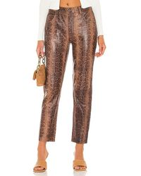 One Teaspoon Python Leather Trucker Trousers - Brown