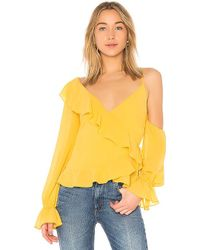 LPA - Asymmetrical Ruffle Wrap Top In Yellow - Lyst