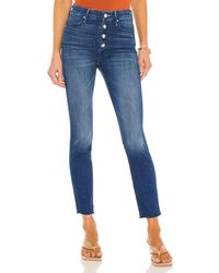 Mother The Pixie Ankle Fray - Blau