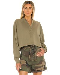 Marissa Webb So Uptight Fine French Terry Plunge Henley Top - Green