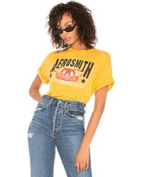 Daydreamer - Aerosmith Double Logo Tee In Yellow - Lyst