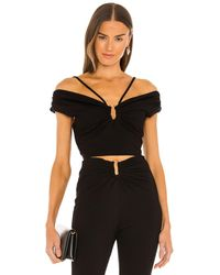 Nicholas Jeena off the shoulder top with u-bar and straps - Negro