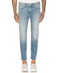 Mother The Joint Ankle Jeans mit Fransensaum - Blau