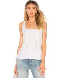 BCBGMAXAZRIA - Sleeveless Embroidered Peplum Top In White - Lyst