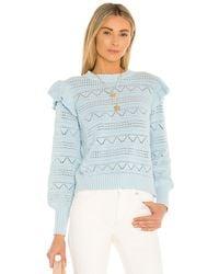 Generation Love Sienna Pointelle Ruffle Sweater - Blue