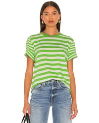 Ganni Футболка Thin Stripe В Цвете Flash Green - Зеленый