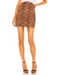 Camila Coelho Luana レザーミニスカート - ブラウン