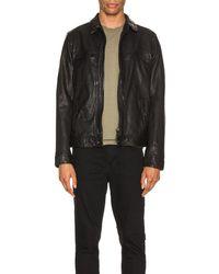 AllSaints Lark Leather Jacket - Schwarz