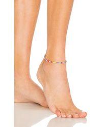 ADINAS JEWELS Multi Colour Beaded Anklet - Blue