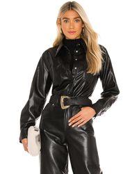 Agolde Paloma Vegan Leather Shirt - Schwarz