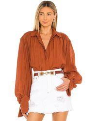 Shona Joy Mila Button Up Shirt - Orange