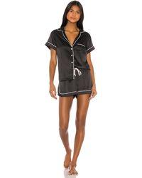 Homebodii Grace Piping Pajama Set - Black