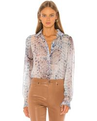 7 For All Mankind Ruffle Cuff Button Up Top ブラウス - ブルー