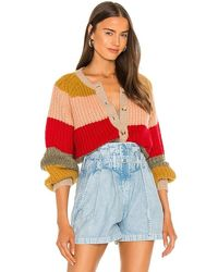 The Great The Bold Striped Sophmore Cardigan - Red