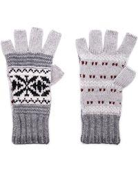 Autumn Cashmere - Fairisle Fingerless Gloves In Grey. - Lyst