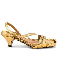 Ganni Kitten Heel Sandal - Metallic