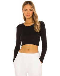 h:ours Ruched Side Top - Black